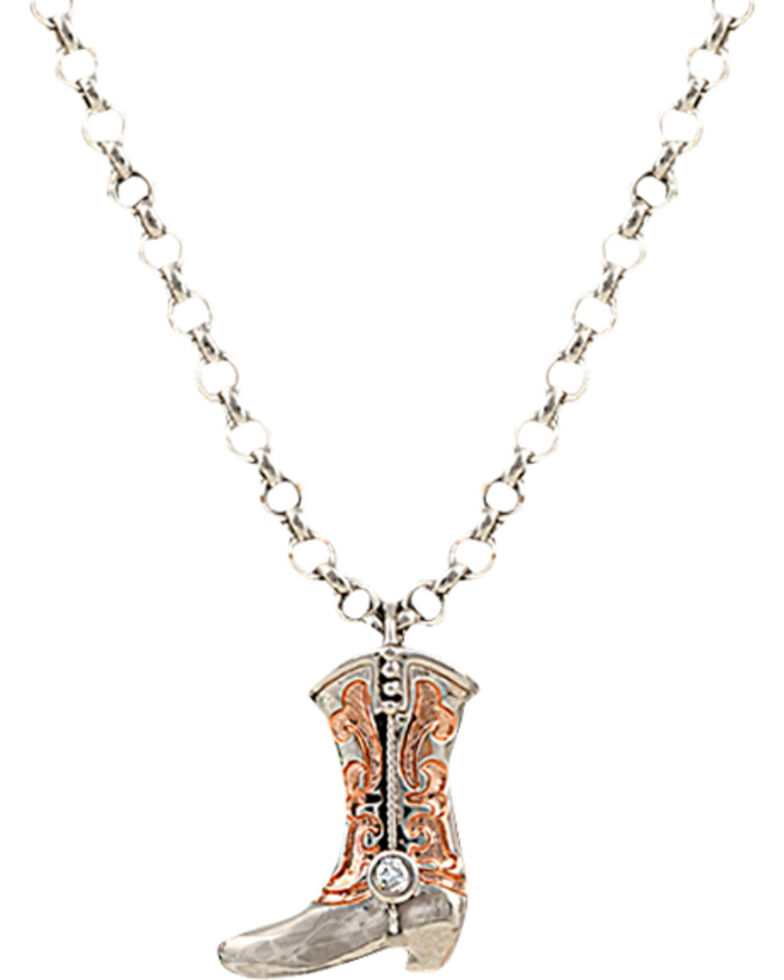 Montana Silversmiths Women's Cowboy Copper Scroll Boot Charm Necklace, Silver, hi-res