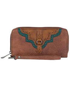 Justin Women's Cognac & Turquoise Wallet, Cognac, hi-res