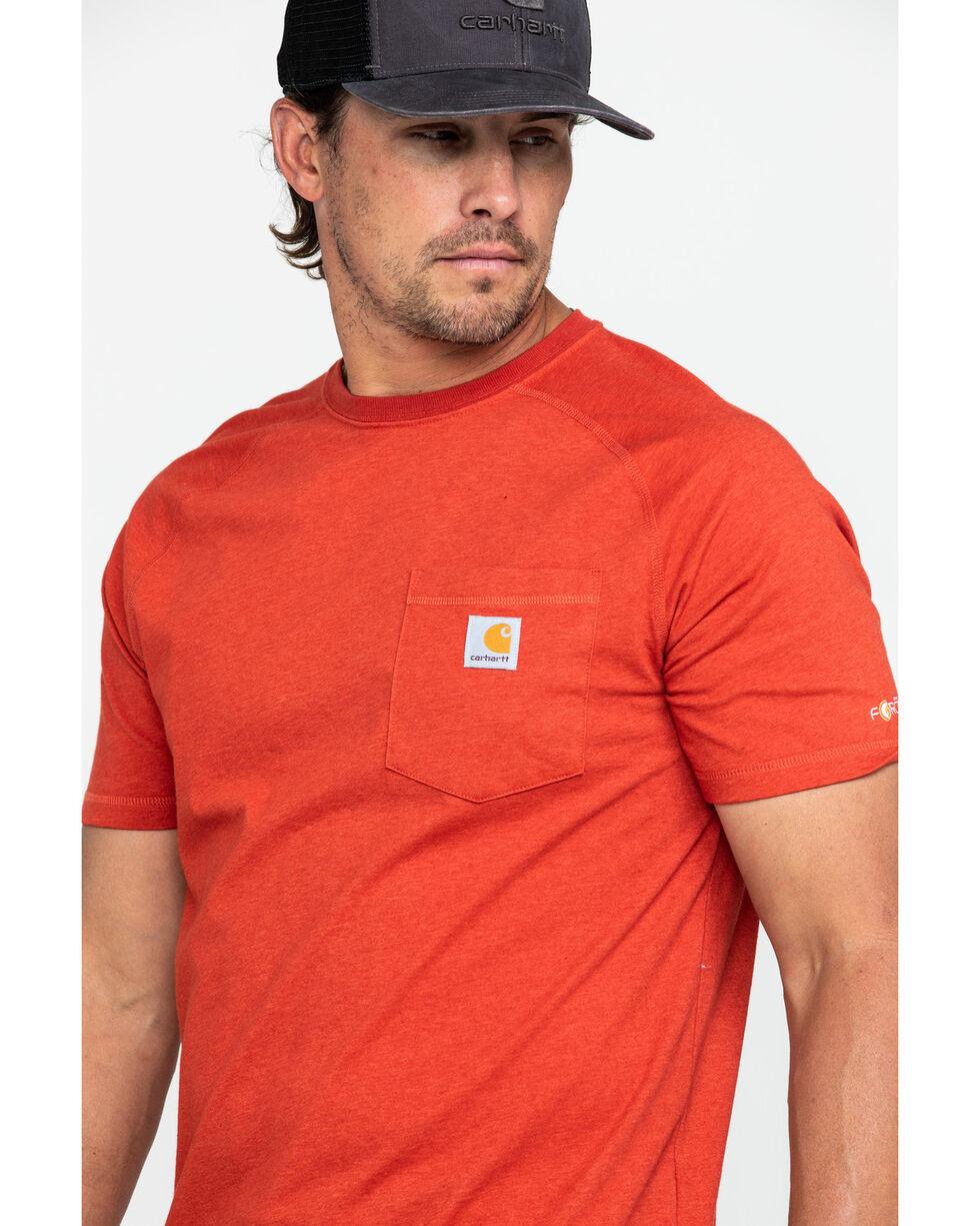Carhartt Men's Force Cotton Delmont Short Sleeve Work T-Shirt - Big , Heather Red, hi-res