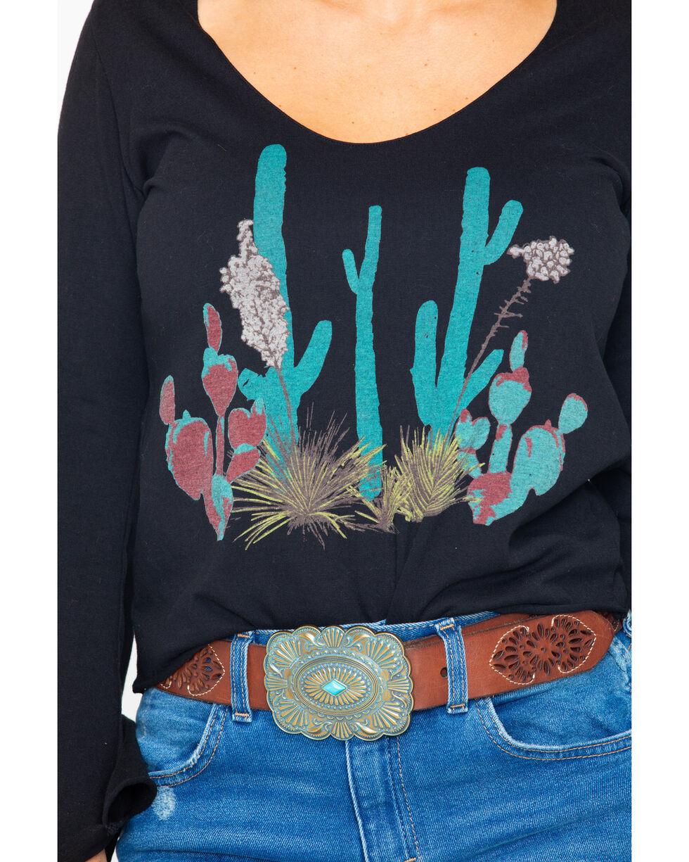Rock & Roll Cowgirl Women's Bright Desert Plant Long Sleeve Top, Black, hi-res