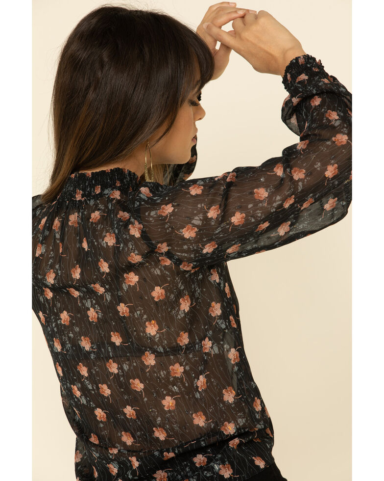 Mystree Women's Tie Front Smock Floral Print Blouse , , hi-res