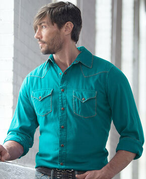 Ryan Michael Men's Textured Stripe Silk Shirt, Lake Blue, hi-res