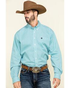 Cinch Men's Blue Small Geo Print Button Long Sleeve Western Shirt , Blue, hi-res