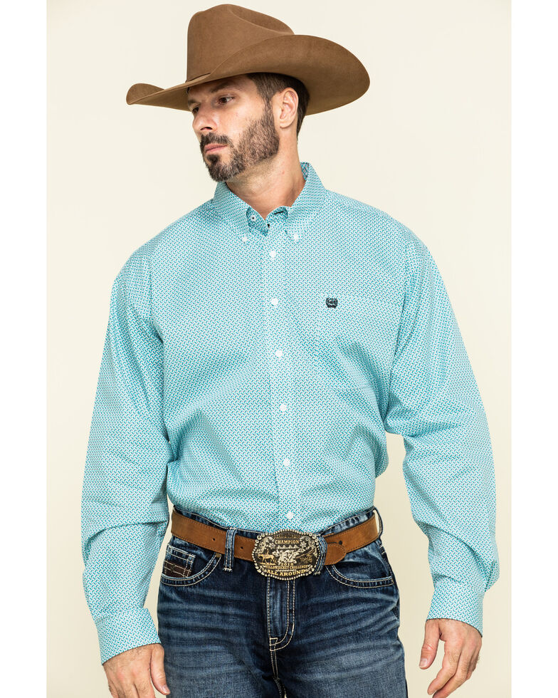 Cinch Men's Blue Small Geo Print Button Long Sleeve Western Shirt , Blue, hi-res