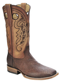 Corral Shark Vamp Cowboy Boots - Wide Square Toe, Tan, hi-res