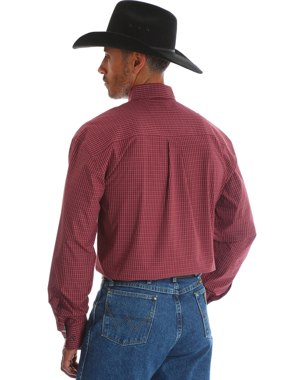 George Strait by Wrangler Men's Red Button Down Print Long Sleeve Western Shirt , Red, hi-res