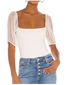 Free People Women's Puff Sleeve Cami Top, White, hi-res