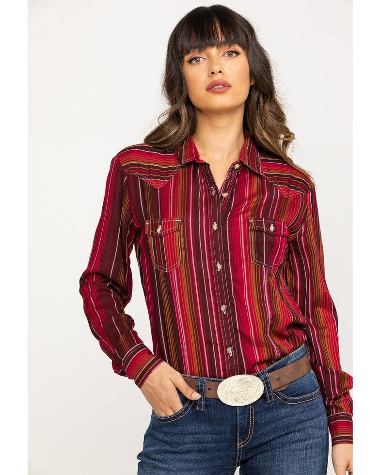 White Label by Panhandle Women's Serape Challis Long Sleeve Shirt, Multi, hi-res