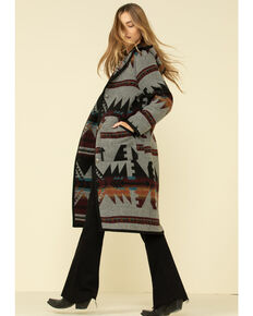 Cripple Creek Women's Grey Navajo Blanket Hood Button Front Duster Coat  , Grey, hi-res