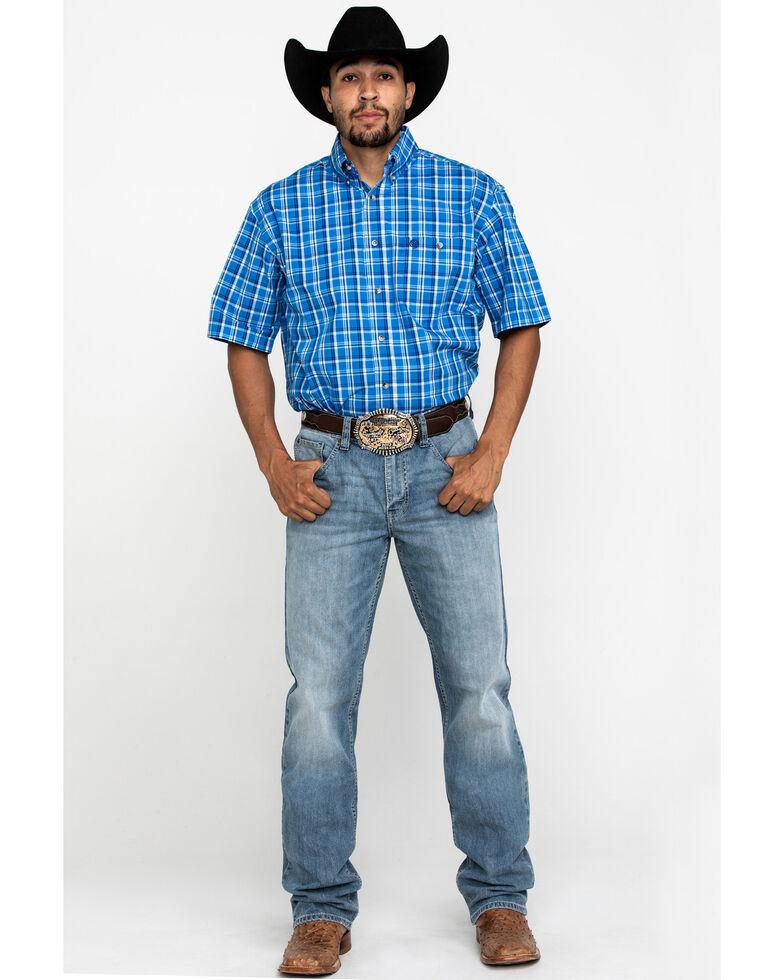 George Strait By Wrangler Blue Poplin Plaid Short Sleeve Western Shirt , Blue, hi-res