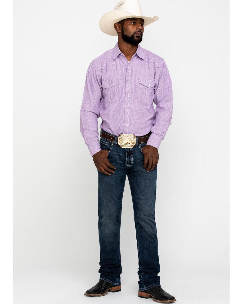 Resistol Men's Purple Mustang Island Small Plaid Long Sleeve Western Shirt , Purple, hi-res