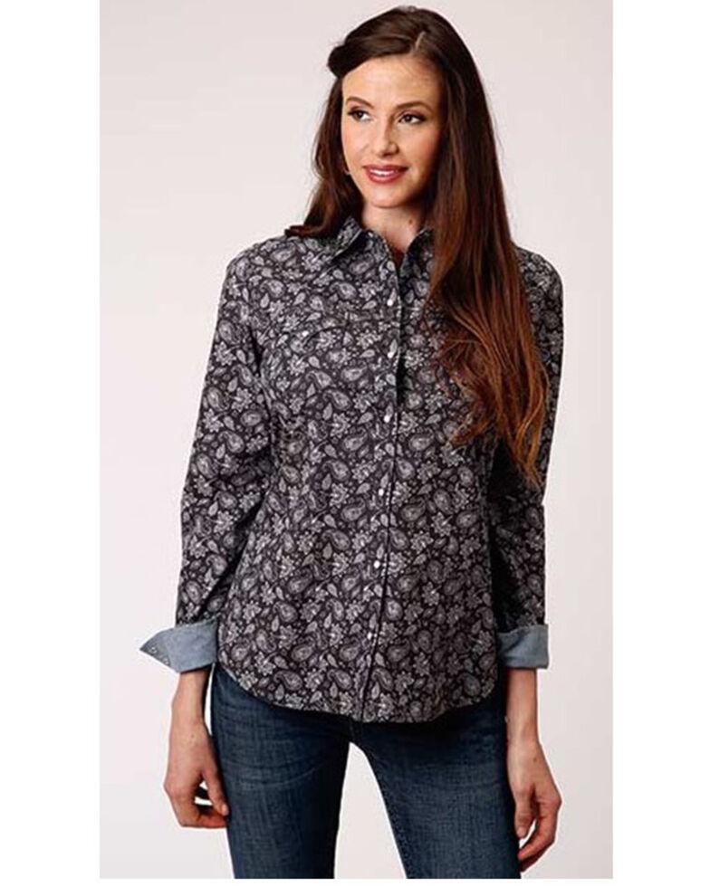 Roper Women's Grey Dapple Paisley Print Long Sleeve Snap Western Core Shirt , Grey, hi-res