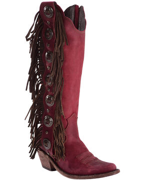 Liberty Black Women's Vegas Rojo Concho Fringe Boots, Red, hi-res