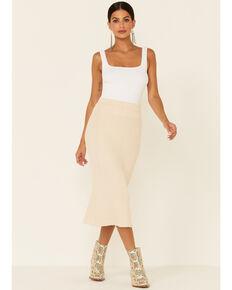 Very J Women's Cream Knit Long Skirt , Cream, hi-res