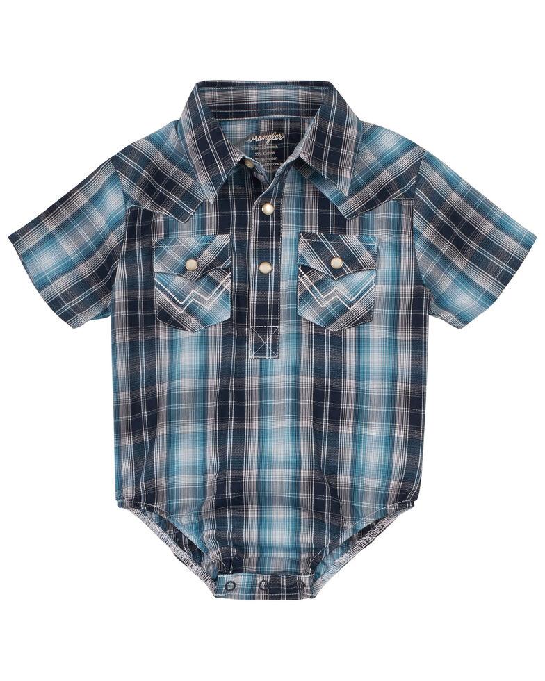 Wrangler Infant Boys' Black & Blue Plaid Short Sleeve Snap Western Onesie , Black/blue, hi-res