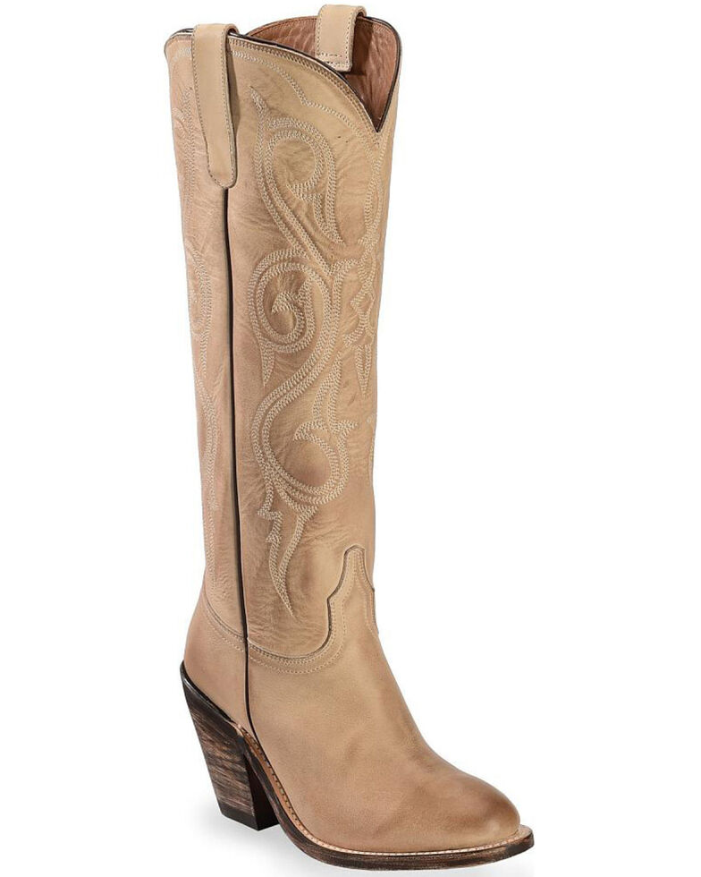 Lucchese Handmade Eggshell Vanessa Cowgirl Boots - Round Toe, Natural, hi-res