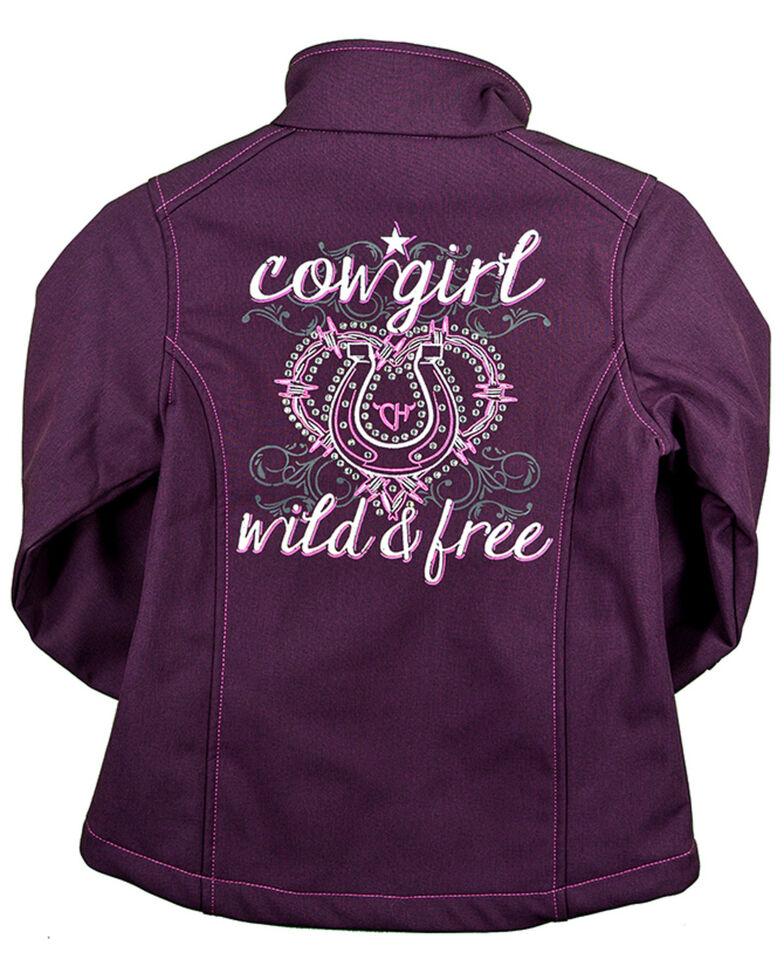 Cowgirl Hardware Toddler Girls' Wild & Free Softshell Jacket, Purple, hi-res
