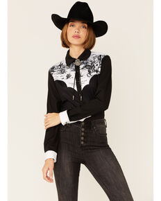Ranch Dress'n Women's John Wayne Shirt, Black, hi-res