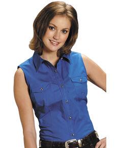 Roper Women's Stretch Poplin Sleeveless Shirt, Royal, hi-res