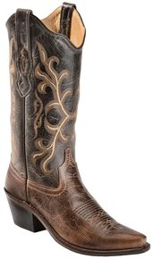 Old West Embroidered & Distressed Cowgirl Boots - Snip Toe, Brown, hi-res