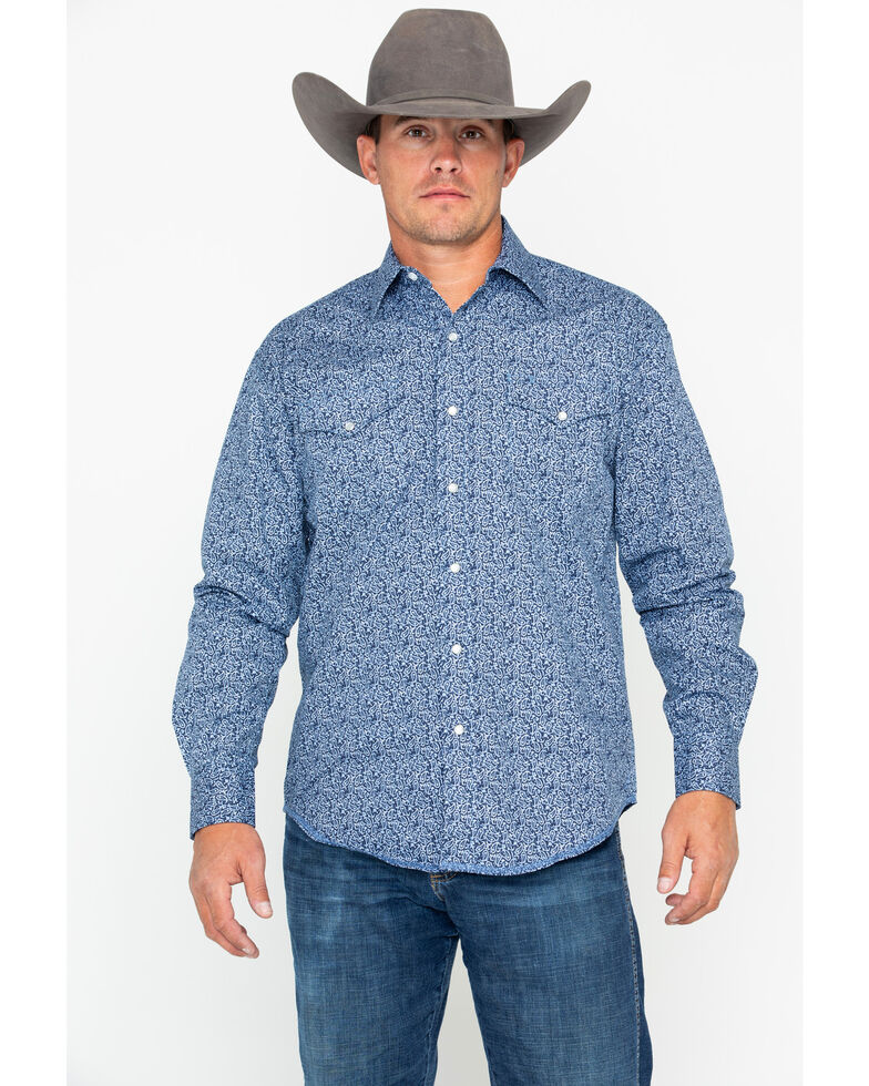 Stetson Men's Paisley Print Long Sleeve Western Shirt , Blue, hi-res