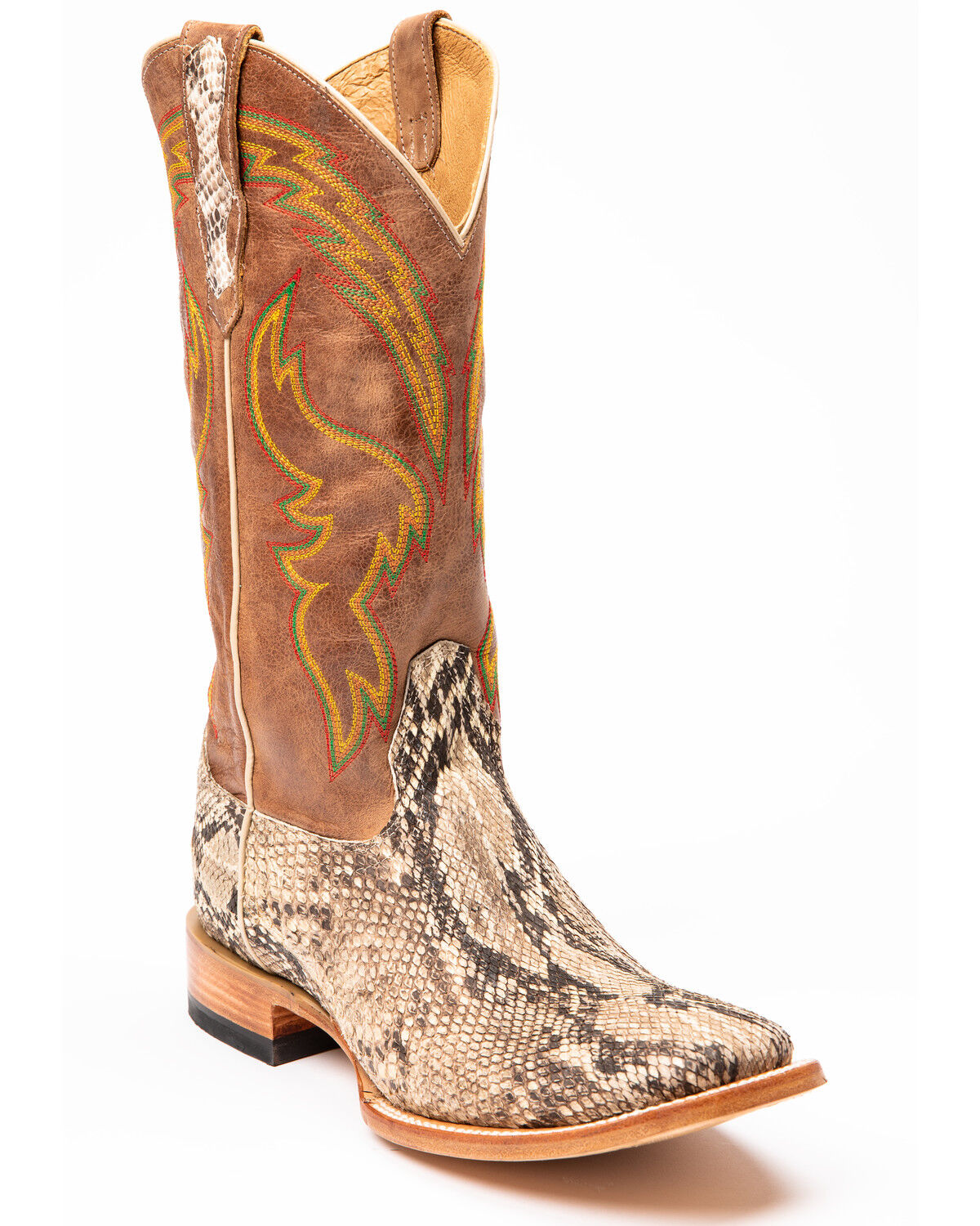 Brown Python Western Boots - Square Toe