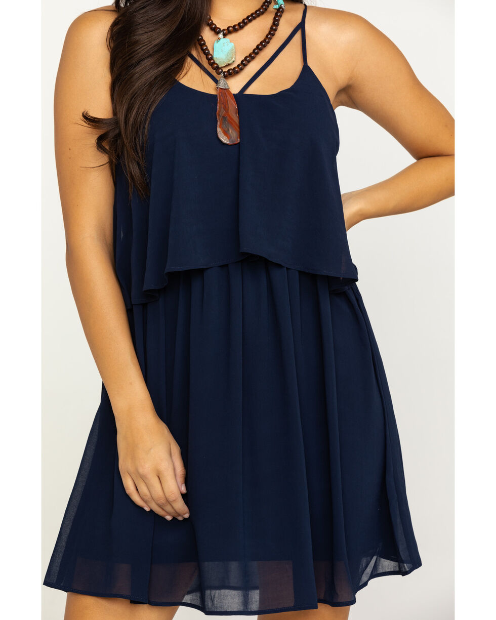 HYFVE Women's Solid Cage Front Dress, Navy, hi-res