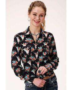 Roper Women's Black Floral Skull Long Sleeve Western Shirt , Black, hi-res