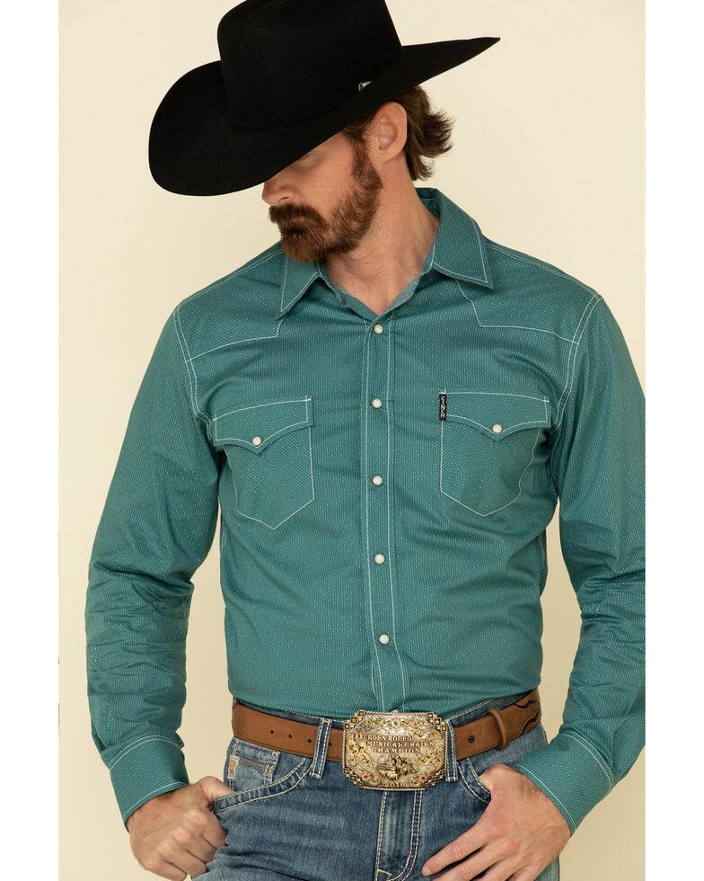 Cinch Men's Modern Fit Teal Small Geo Print Long Sleeve Western Shirt , Teal, hi-res