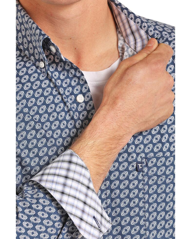 Tuf Cooper Men's Royal Blue Geo Print Long Sleeve Shirt , Royal Blue, hi-res