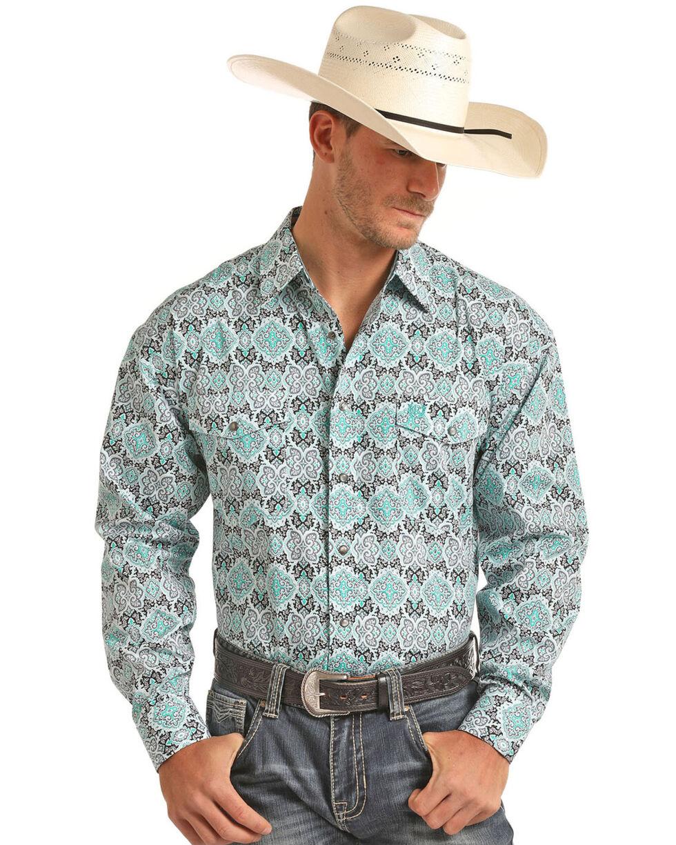 Panhandle Men's Black and Green Print Long Sleeve Shirt, , hi-res