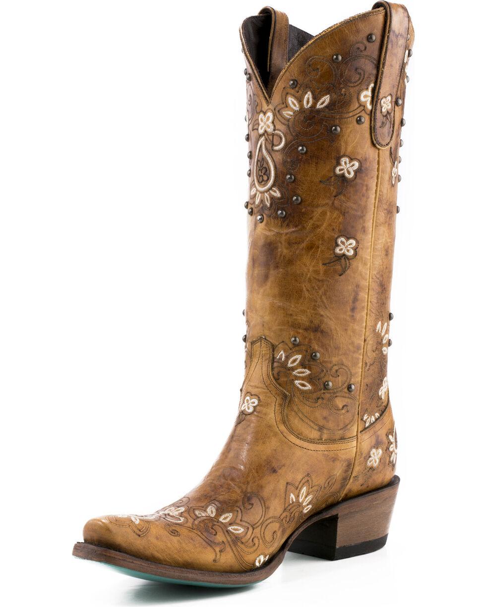 Lane Women's Sweet Paisley Cowgirl Boots - Snip Toe , Tan, hi-res