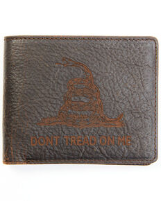 Cody James Men's Brown Don't Tread on Me Bifold Wallet, Dark Brown, hi-res
