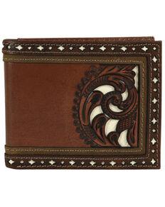 Justin Men's Brown Bifold Tooled Wallet, Brown, hi-res