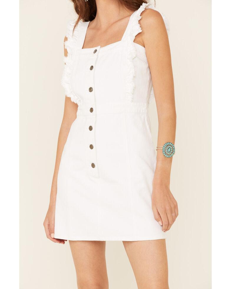 Elan Women's White Fray Edge Ruffled Denim Dress, White, hi-res