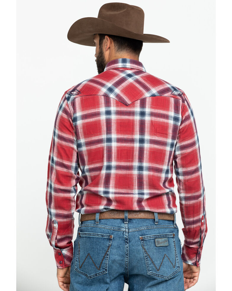 Rock 47 By Wrangler Large Red Plaid Embroidered Long Sleeve Western Shirt , Red, hi-res