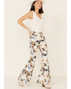 Shyanne Women's Tie-Dye Super Flare Jeans, Cream/brown, hi-res