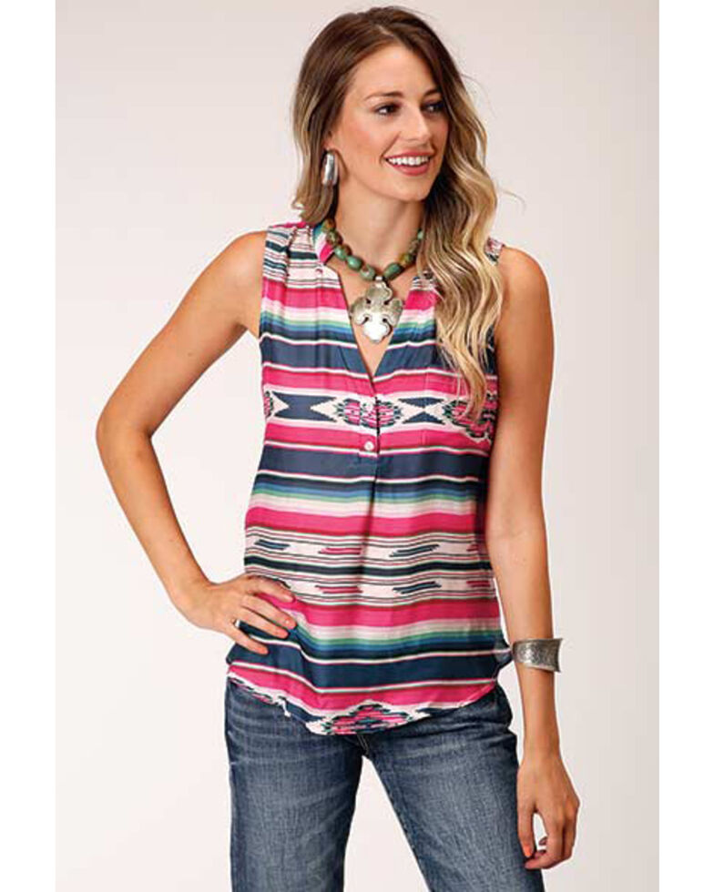 Stetson Women's Indigo Aztec Stripe Herringbone Sleeveless Button-Down Western Blouse, Blue, hi-res