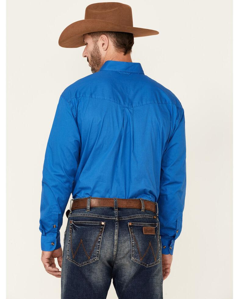 Roper Men's Solid Amarillo Collection Long Sleeve Western Shirt, Royal, hi-res