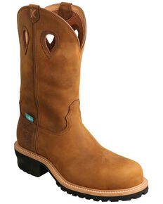 Twisted X Men's Brown Western Logger Boots - Composite Toe, Brown, hi-res