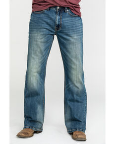 Rock & Roll Cowboy Men's Small V Reflex Cannon Bootcut Jeans , Blue, hi-res