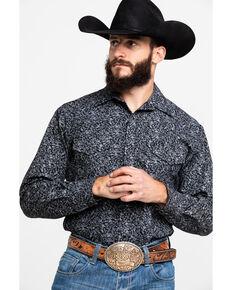 Roper Men's Black Ground Floral Print Long Sleeve Western Shirt , Black, hi-res