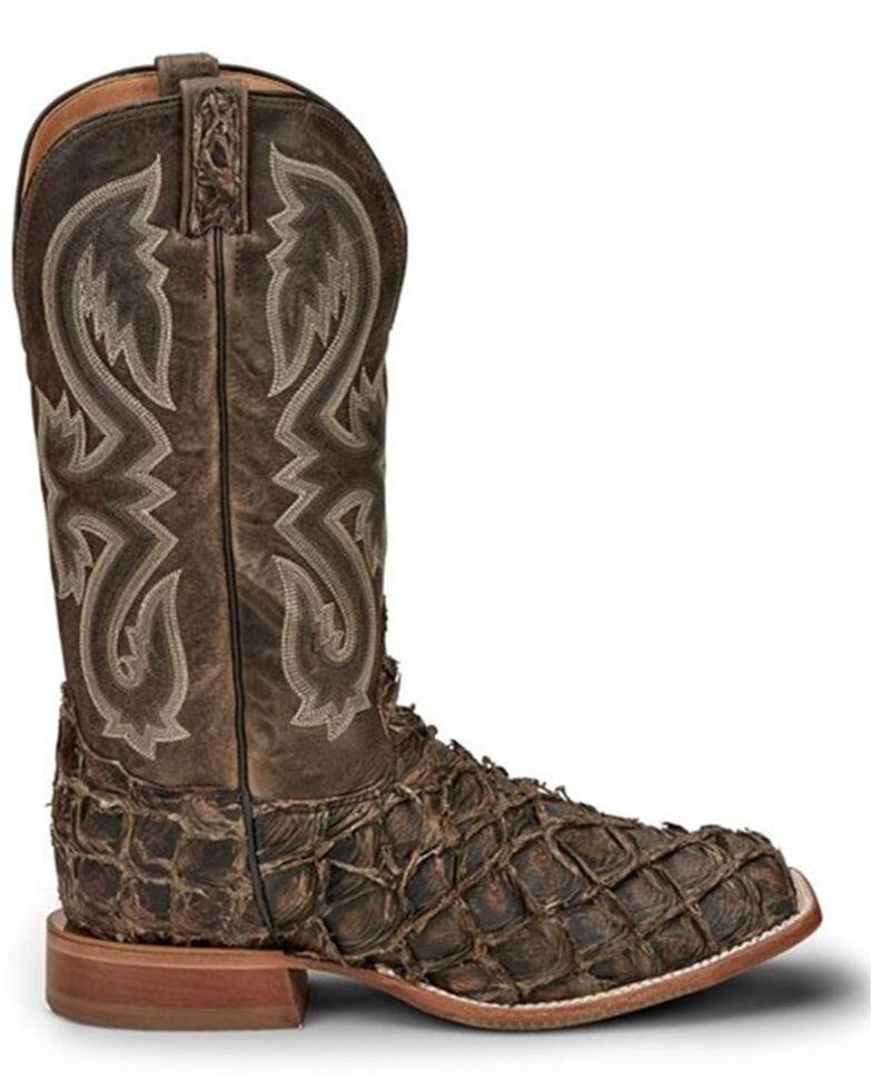 Tony Lama Men's Marquis Exotic Pirarucu Western Boots - Wide Square Toe, Chocolate, hi-res