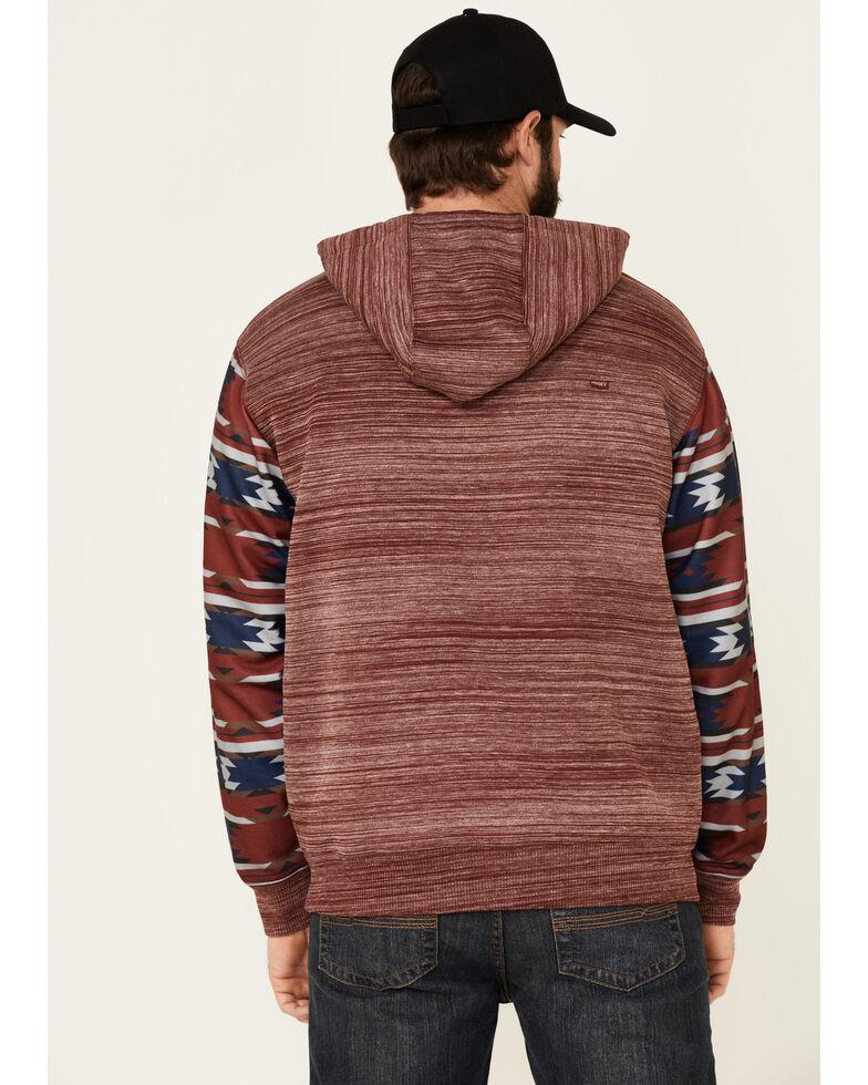 HOOey Men's Burgundy Aztec Sleeve Space Dyed Hooded Sweatshirt , Burgundy, hi-res
