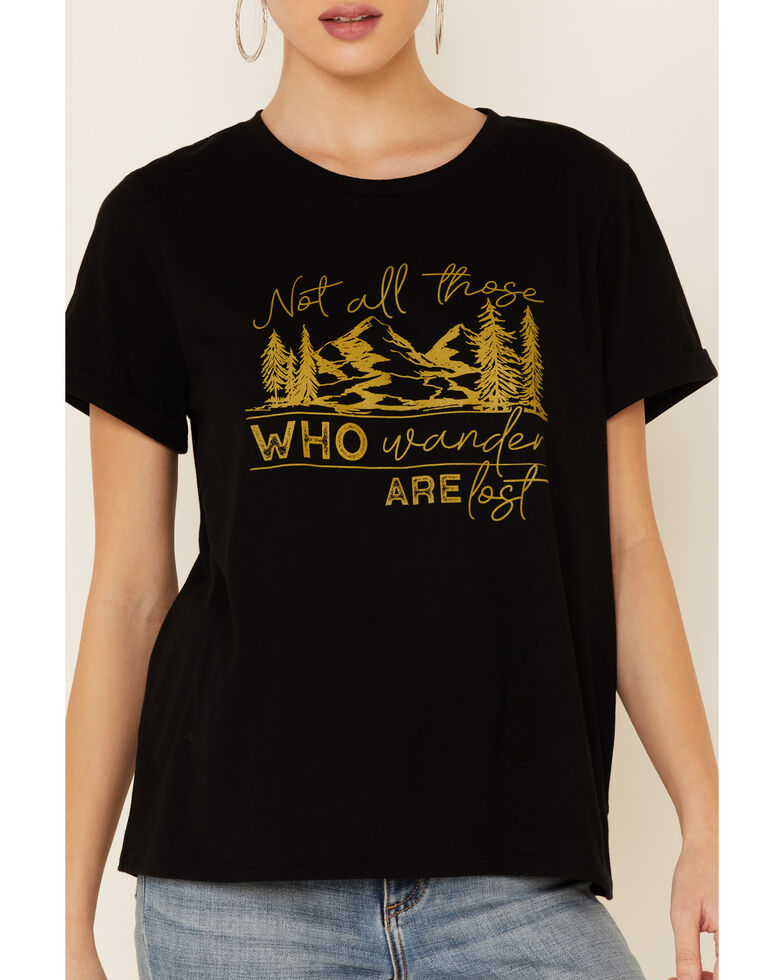 Cut & Paste Women's Not All Those Who Wander Are Lost Graphic Short Sleeve Tee , Black, hi-res