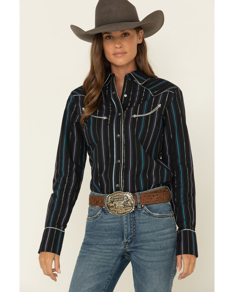 Wrangler Women's Black Stripe Piped Long Sleeve Western Shirt , Black, hi-res