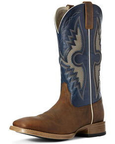 Ariat Men's Soldado VentTEK Western Boots - Wide Square Toe, Blue, hi-res