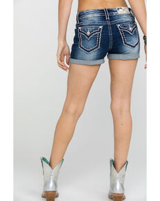 Miss Me Women's Rolled Hem Dark Denim Shorts , Blue, hi-res