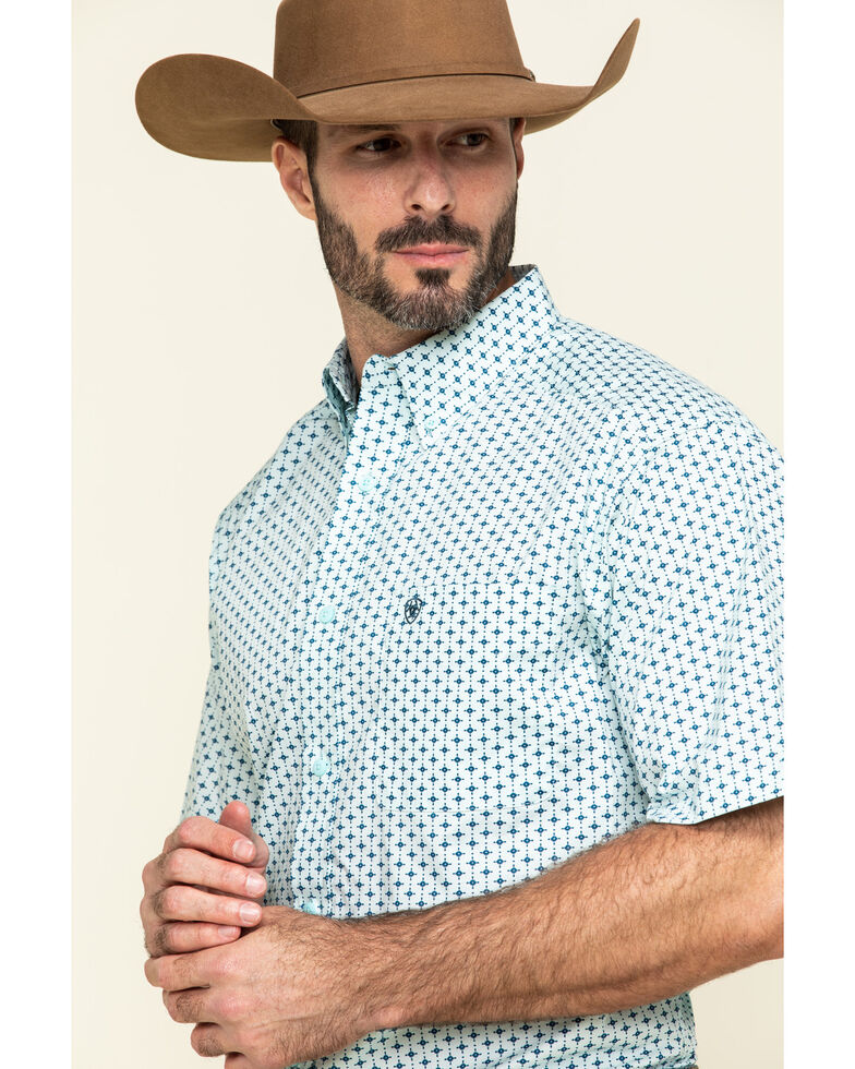 Ariat Men's Reedley Stretch Geo Print Short Sleeve Western Shirt - Tall , Turquoise, hi-res
