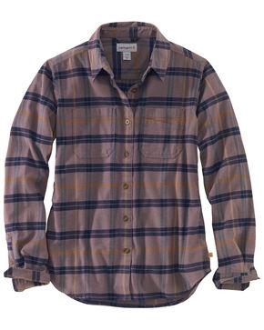 Carhartt Women's Rugged Flex Hamilton Flannel Work Shirt , Burgundy, hi-res